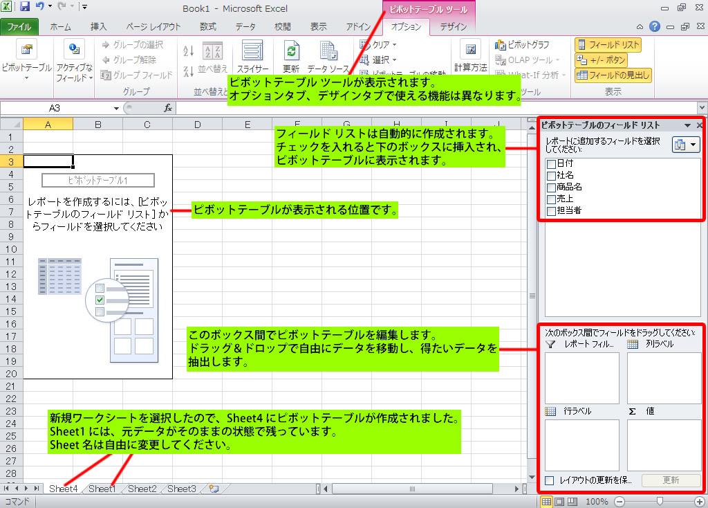 ピボットテーブルの使い方 データ集計方法 エクセル2010の使い方