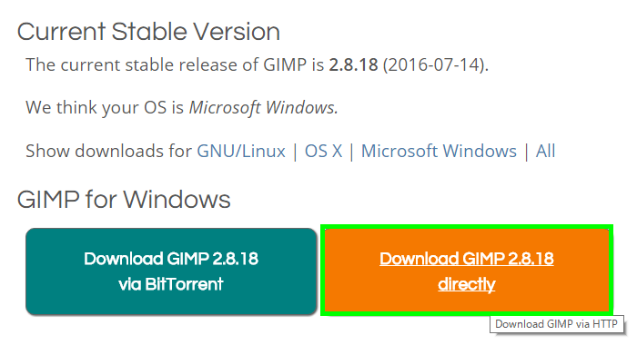 Download GIMP 2.8.18 directly