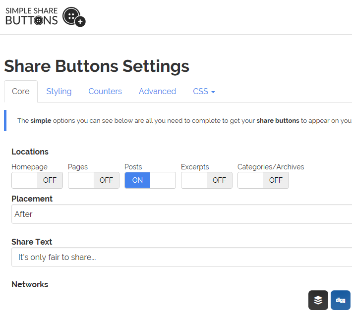 Simple Share Buttons Adder の設定